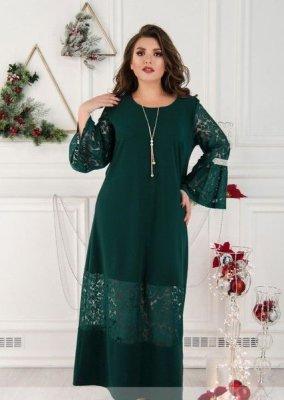 Платье А-силуэта 148А тёмно-зелёное