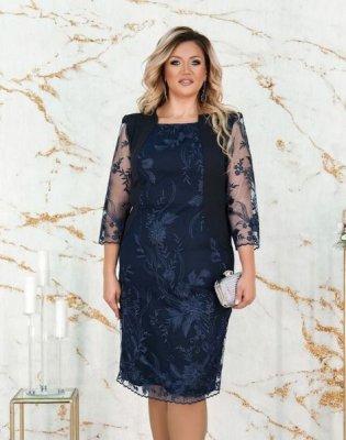 Платье двуслойное 385СБ синее