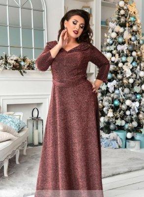 Элегантное платье в пол 19-42 бургунди