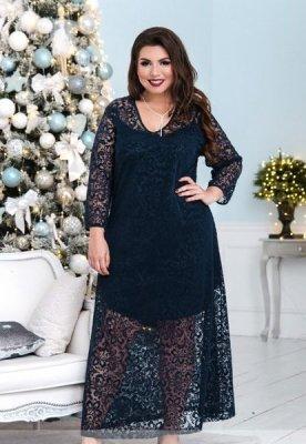 Нарядное двойное платье 150-1 синее