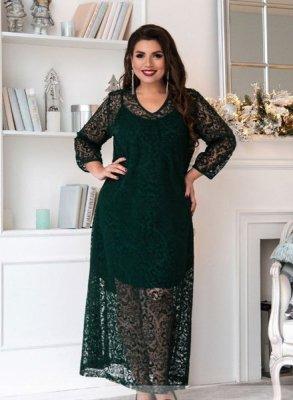 Нарядное двойное платье 150-1 зелёное