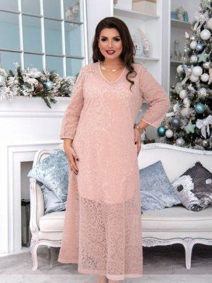Нарядное двойное платье 150-1 персик