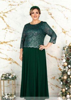 Вечернее платье А-силуэта 316СБ зелёное