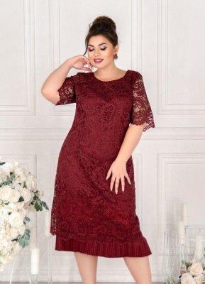 Нарядное платье с гипюром 19-10 марсала