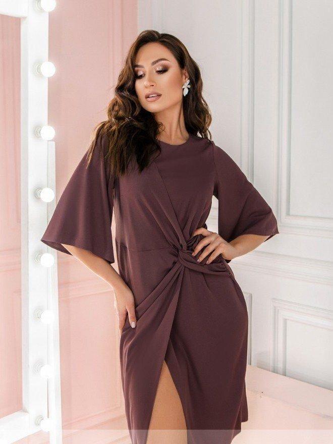 Оригинальное приталенное платье 3136В бисквит