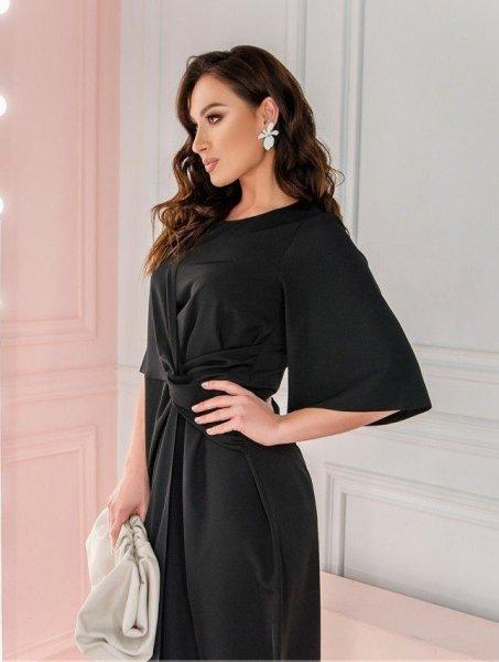 Оригинальное приталенное платье 3136В черное