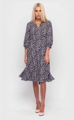 Платье с принтом на запах 3914 (серое)