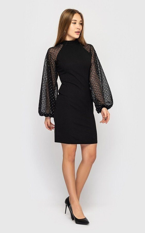 Платье с пышными рукавами 1502 чёрный