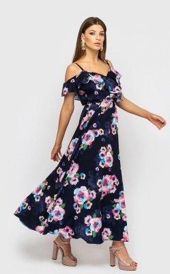 Платье со спущенными плечами 4113-5 (розы мультиколор)