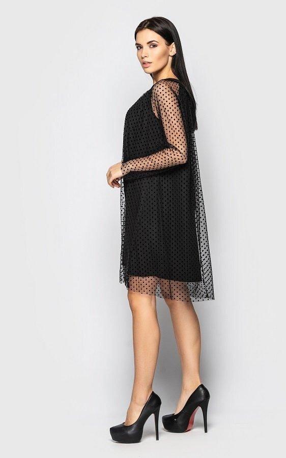 Платье в мелкий горошек 4083 (черное)