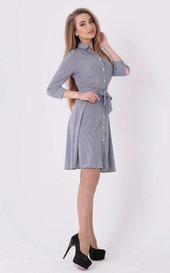 Полосатое платье-рубашка 3587 голубой