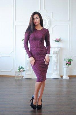 Повседневное платье люрекс фиолетовое