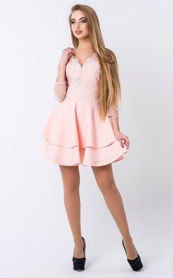 Пышное платье вышивка персиковое