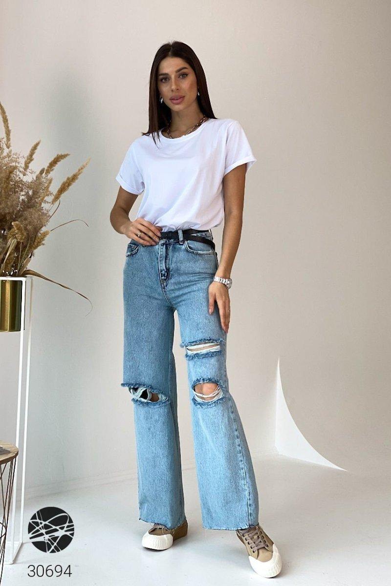 Расклешенные джинсы 30694 голубой