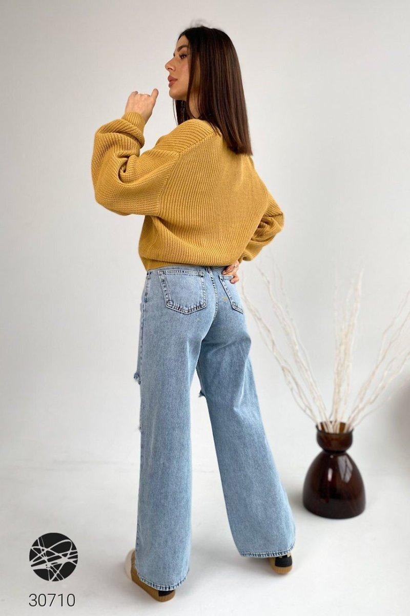 Расклешенные джинсы 30710 голубой