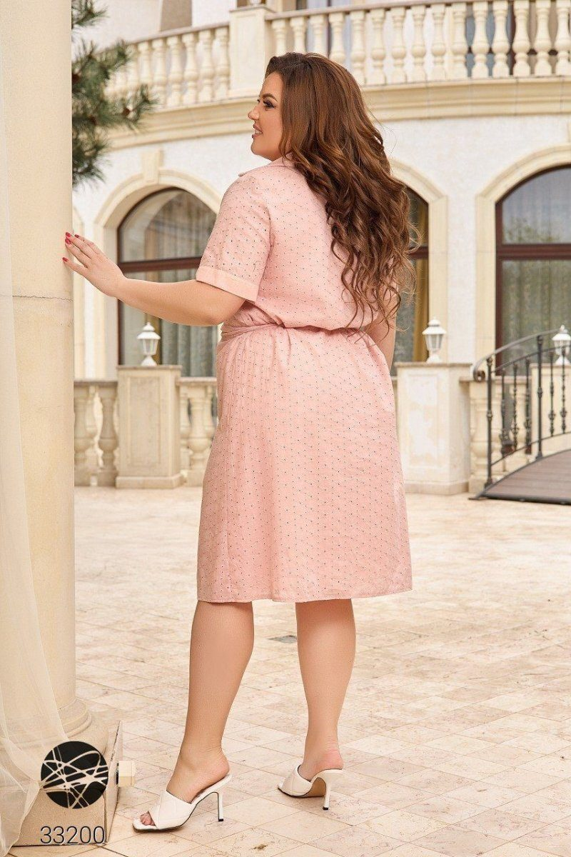Платье-рубашка с перфорацией 33200 розовый