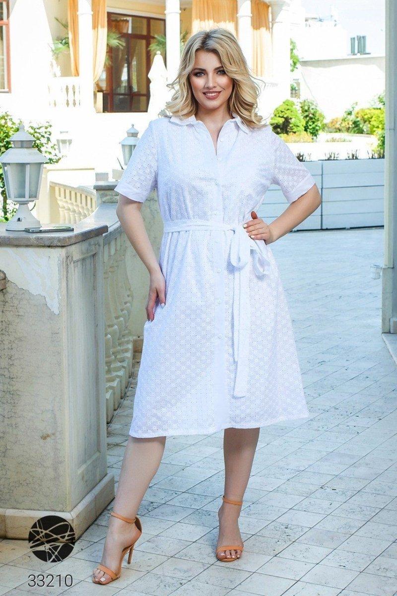 Платье-рубашка с перфорацией 33210 белый