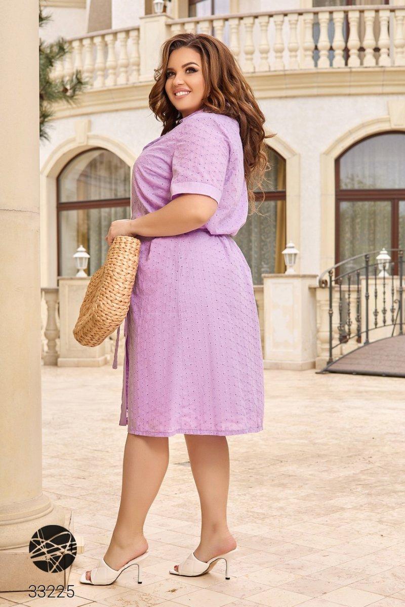 Платье-рубашка с перфорацией 33225 сиреневый