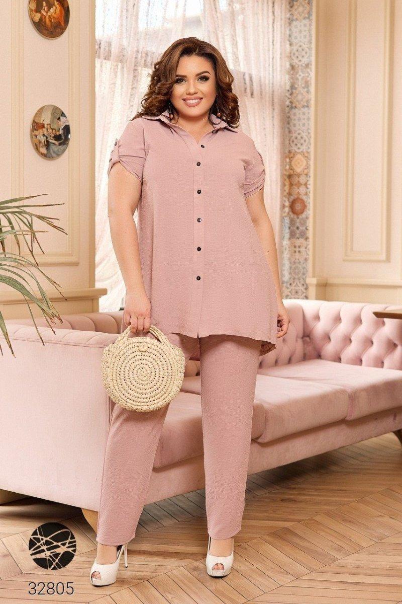 Льняной костюм 32805 розовый