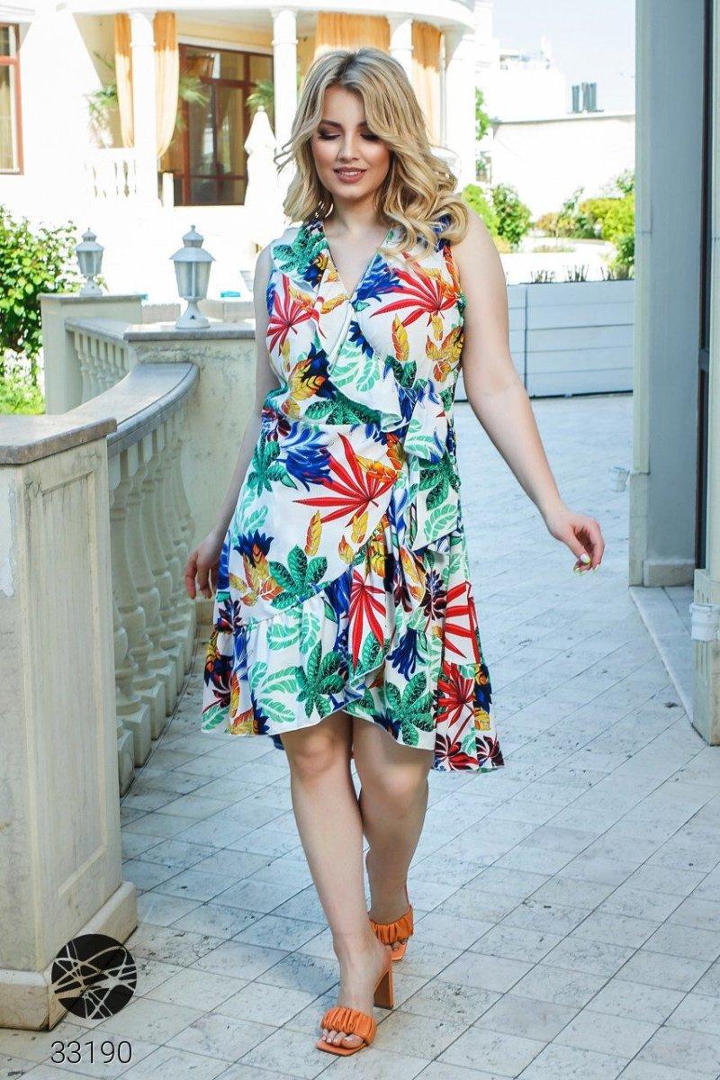 Платье с запахом и цветочным принтом 33190 зеленый