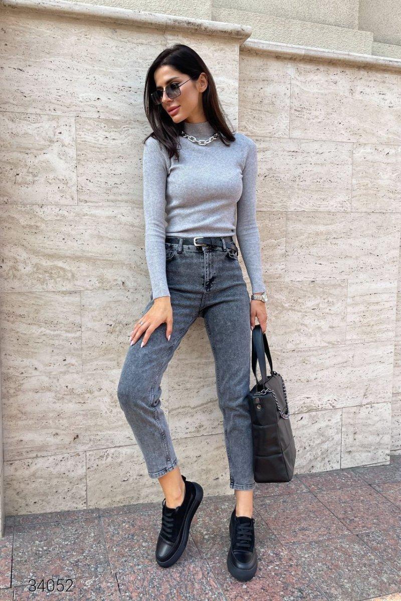 Выбеленные серые джинсы мом 34052 серый