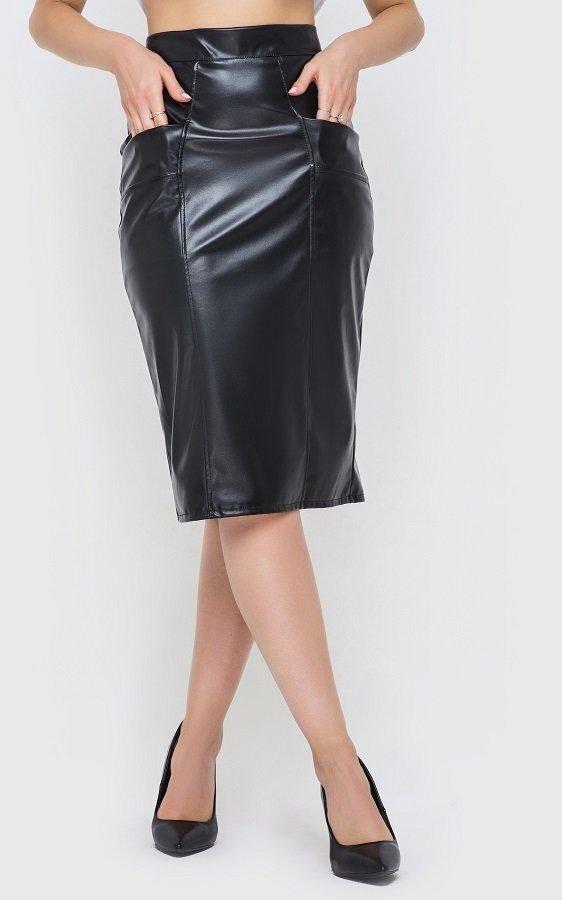 Стильная кожаная юбка чёрная