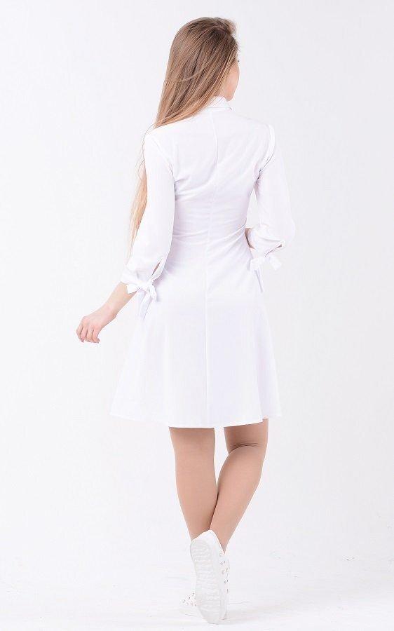Стильное белое платье 3641 белый