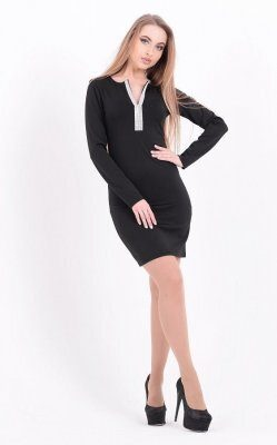 Стильное черное платье чёрное