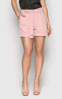 Стильные шорты с высокой посадкой (розовый)