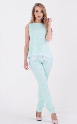 Стильный брючный костюм 3661 голубой