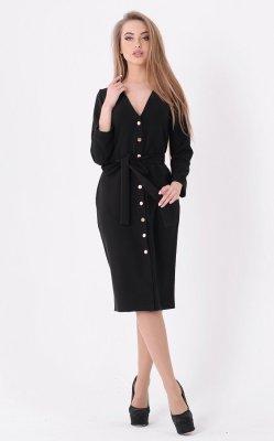 Трендовое платье кнопки чёрное