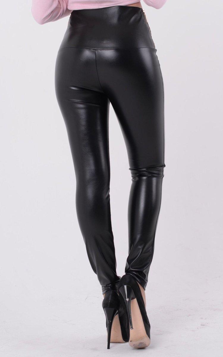 Трендовые кожаные легинсы чёрные