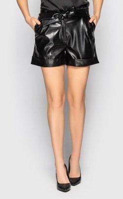 Трендовые кожаные шорты 4091 чёрные