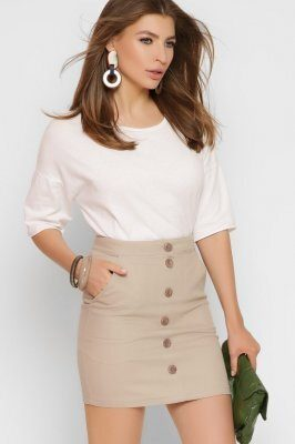 Короткая джинсовая юбка 3260-10 Бежевый
