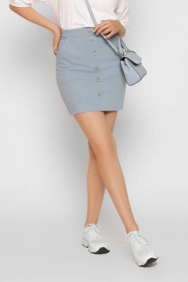 Короткая джинсовая юбка 3260-11 Голубой