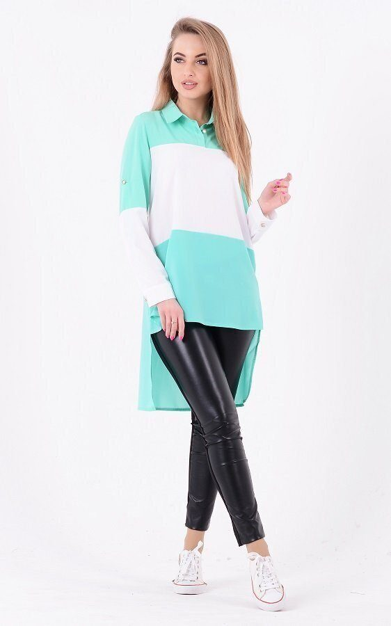 Удлиненная комбинированная блузка (мята)