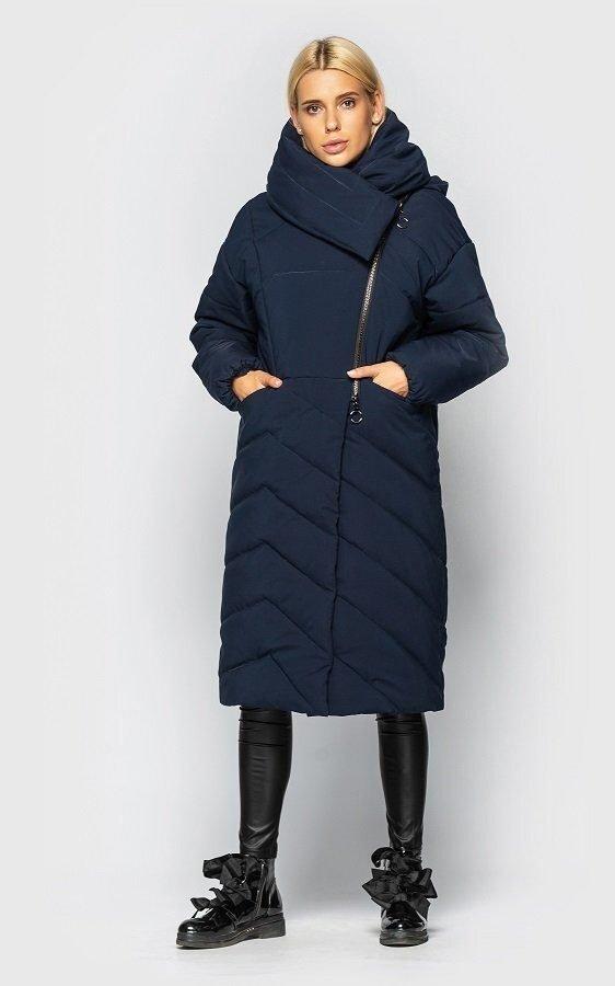 Удлиненная куртка с воротом (темно-синяя)