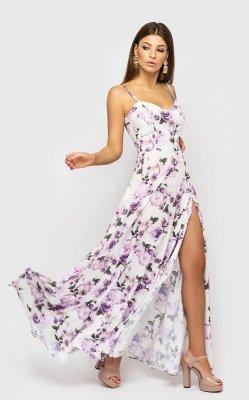Утонченное платье на бретелях 4135-3 (белое с сиреневыми розами)