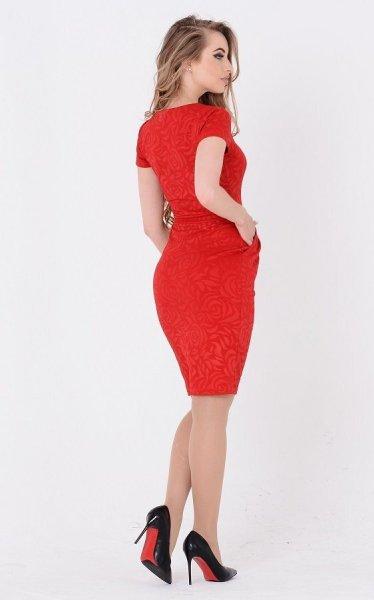 Утонченное платье жаккард 3658 красный