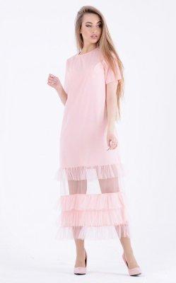 Воздушное платье сетка 3651 розовый