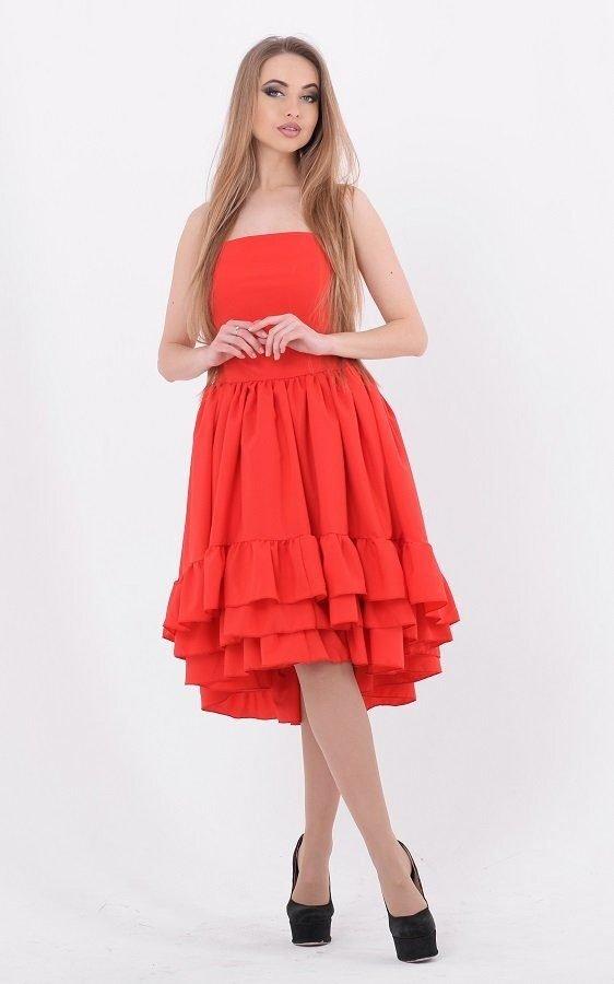 Яркое пышное платье 3552 красный